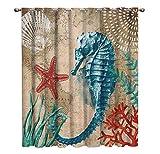 WKJHDFGB Sea Life Series Seahorses Fenstervorhänge Dark Outdoor Vorhänge Decor Vorhang Panels Mit...