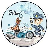 Tortenaufleger Tortenbild Geburtstag Jungen Blau Kindergeburtstag Polizei Polizist Polizeihund und...