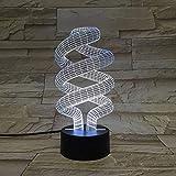 Spiralbirnenform Art Deco Licht 3D LED Schlafzimmer Nachtlicht Mehrfarbige Tischlampe Home Office...