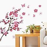 WandSticker4U®- Wandtattoo KIRSCHBLÜTE Rot I Wandbilder: 120x50cm I Wand-aufkleber Blumen Zweig...