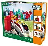 BRIO World 33873 Großes Smart Tech Reisezug Set – Elektrischer Zug mit Schienen, Tunnel &...