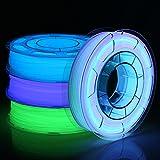 AMOLEN Filament 1.75 PLA, Glow in the Dark Grün, Blau, Tiefes Blau und Mehrfarbig Ändern Sie 5m...