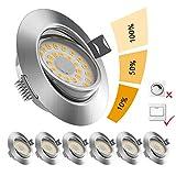 6x LOFTer LED Einbaustrahler ultra Flach LED Spots 230V Warmweiß 6W 500LM LED Einbaustrahler...