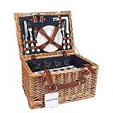 Display4top Deluxe 4 Personen Traditional Wicker Picknickkorb Wicker Hamper - Premium Set mit...