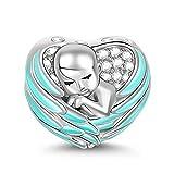 GNOCE Baby Charm Anhänger Mit Rosa Flügel 925 Sterling Silber Schlafendes Baby mit Engelsflügeln...