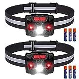 Outlite 2 Stück LED Stirnlampe Taschenlampe mit AAA-Batterie, Reflektierende Streifen Stirnlampe...