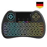 Tecboss [Deutsches Layout] Mini Tastatur Wireless, Mini Tastatur Kabellos mit Touchpad, Mini...