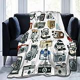 Kamera (2) Super weiche Microfaser Fleece Überwurfdecke Warm für Couch Bett Stuhl, Schwarz,...