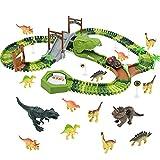 yoptote Rennbahn Autorennbahn Spielzeugauto Dinosaurier Figuren Spielzeug Autobahn Kinder Auto...