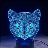 Nur 1 Stück Big Face Cat 3D Illusionslampe USB LED Touch Sensor Licht 7 Farben Fernbedienung LED...