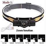 SZSM 3800lm LED-Scheinwerfer USB Wiederaufladbare Taschenlampe Power Scheinwerfer Taschenlampe...