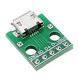 ILS - 20 Stück Micro-USB-Dip Buchse B Typ Mikrofon 5P Patch-Dip mit Löt- Adapterkarte