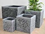 Pflanzkbel Blumenkbel Blumentopf Fiberglas Stein-Optik Quadrat L/B/H 30x30x30cm anthrazit grau