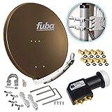Fuba DAA 850 B 85cm Sat Schüssel Braun Satellitenantenne Aluminium Reflektor + HB-DIGITAL UHD Quad...