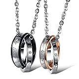 Kim Johanson Pärchen Halsketten 'Endless Love' für verliebte aus Edelstahl mit doppelten Ringen...
