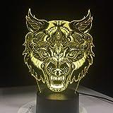 Bunte Tischlampe der neuen Fantasieillusions-Tierwolf-Gesichtslampe als...