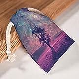 RNGIAN Romantische Galaxie-Baum-Beutel, Bedruckt, Aktivitäten für Wandern, 6 Stück, weiß, 12 *...