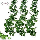 Deruxan Künstliche Efeugirlanden 12 Stück  Efeu Hängend Girlande Ivy Leaves Kunstpflanze mit 80...