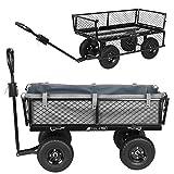 MT MALATEC Bollerwagen Gartenwagen Handwagen mit herausnehmbare Plane und Griffen bis 350kg Schwarz...