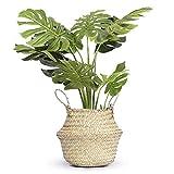 7WUNDERBAR Seegras Korb Blumentopf Stroh Blumenkorb Wäschekorb faltbar Aufbewahrungskorb groß mit...
