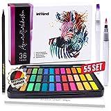 int!rend Aquarellfarbkasten 55er Set, hochwertiges Aquarell-Farben-Set bestehend aus 36...