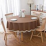 AIDEHUA Tischdecke Tischtuch Baumwolle Leinen Tischwäsche Einfarbig Tischdekoration Abwaschbar...
