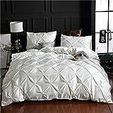 XLLJA BettwäSche,Dreiteiliger einfarbiger Bettbezug und Kissenbezug aus gewaschener Seide, einzeln,...