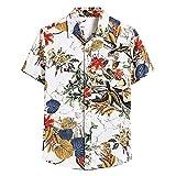 XIAOMEIO Fashion Ethnischer Stil Hemd Herren Kurzarm Button Down Trachtenhemd Cool Breathable Hawaii...