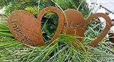 LB H&F 2 Stück Grabherz Rostherz Trauerherz mit Inschrift Grabschmuck Metall Herz für Gestecke -...