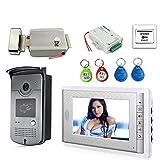 Video-Türsprech Kit Mit ID Keyfobs + Elektroschloss + Stromversorgung + Tür Exit For Villa Video...