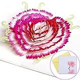 YIHAO Geburtstagskarte für Mutter 3D Pop Up Grußkarte mit Nelke Muttertagskarte mit Umschlag 3D...