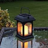schwarze Solar Laterne mit LED Kerze und tuschend echt wirkenden Flacker-Effekt, von Festive Lights