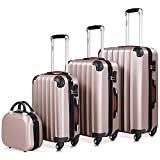 Monzana Baseline 4er Set Koffer Rose-Gold |Beautycase M, L, XL|Gelgriffe Zahlenschloss| Reisekoffer...