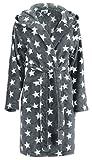 Brandsseller Damen Bademantel mit Sternen - Größe: S/M - Farbe: Anthrazit/Weiß