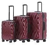 MÜNICASE TSA Schloß Handgepäck Trolley Koffer-Set Reisekoffer (Weinrot, 3er Set)