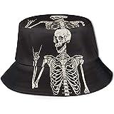 Tracray Eimer Hut Packable Reversible Rock'n'Roll Skeleton Skull Boho Hippie Print Sonnenhut Fischer...