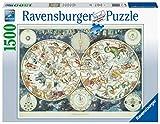 RAVENSBURGER PUZZLE 16003 16003-Weltkarte mit fantastischen Tierwesen-1500 Teile, Yellow