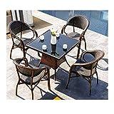 DYYD Gartenmöbel-Sets Freizeitmöbel Gartentisch und Stühle Set Patio Rattan Esstisch Set Wicker...