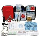 TRSCIND Erste-Hilfe-Set, Survival Kit mit Taschenlampe Feuerstahl und Rettungsdecke 130-teilig