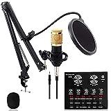 Mnjin Kondensatormikrofon-Kit, BM-800-Mikrofonset, mit Einstellbarer Mikrofonaufhängung,...