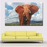 Wmszpy HD Große Größe Himmelblau Weiß Wolken Hintergrund Tier Elefant Ölgemälde Wand Kunst...