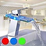 BONADE Armatur Waschtischarmatur LED RGB Farbewechsel Glas Wasserfall Auslauf Wasserhahn Badarmatur...