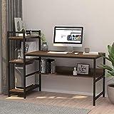 Dripex Holz Schreibtisch mit Ablage Computertisch, PC-Tisch Bürotisch Officetisch Stabile...