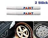 WEIß / WEISS 2x Stück Reifen Stift Reifenmarker Auto, Motorrad, Fahrradreifen...