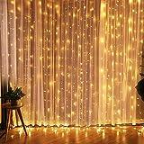CREASHINE LED Lichterkette 3*3M 300er LED Warmweiß Lichtervorhang, dimmbare Kupferdraht IP44...
