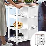 MIADOMODO Küchenwagen auf Rollen - 3 Schubladen, 3 Ebenen, Holz und MDF, 67x37x84 cm,Weiß-Natur -...