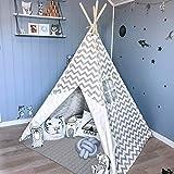 Tiny Land Tipi Spielzelt für Kinder Kinderzimmer mit Gepolsterter Decke- Drinnen Baumwolle...