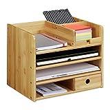 Relaxdays Schreibtisch Organizer, Briefablage A4, Notizzettel und Stifte ordnen, Schublade,...