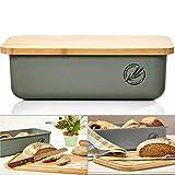 bambuswald© ökologischer Brotkasten mit Brot-Schneidebrett aus 100% Bambus   Brotbox für...