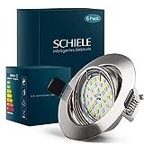SCHIELE 6x LED Einbaustrahler GU10 230V 6W Warmweiß Rund Einbauspots Set Deckenspot Metall matt...